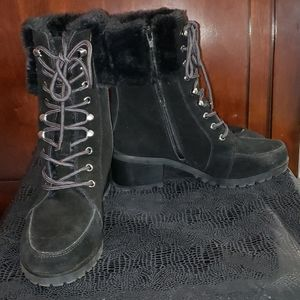 Black suede and fur ankle boots